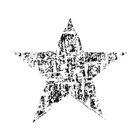 Grunge star. Hand drawn style illustration with a grunge effect. Star with grunge texture. Vector