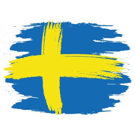 Flagge von Schweden. Pinsel gemalte Flagge von Schweden. Handgezeichnete Stilillustration mit Grunge-Effekt und Aquarell. Flagge von Schweden mit Grunge-Textur.
