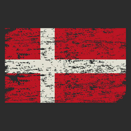 Denmark flag. Brush painted Denmark flag. Hand drawn style illustration with a grunge effect and watercolor. Denmark flag with grunge texture. Vector illustration.
