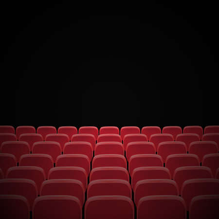 Rows of red cinema or theater seats in front of black blank screen. Wide empty movie theater auditorium with red seats. Vector illustration