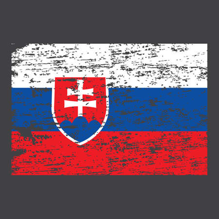 Slovakia flag. Brush painted Slovakia flag. Hand drawn style illustration with a grunge effect and watercolor. Slovakia flag with grunge texture. Vector illustration.