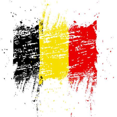 Belgien-Flagge. Pinsel gemalte belgische Flagge. Handgezeichnete Stilillustration mit Grunge-Effekt und Aquarell. Belgien-Flagge mit Grunge-Textur. Vektor Vektorgrafik