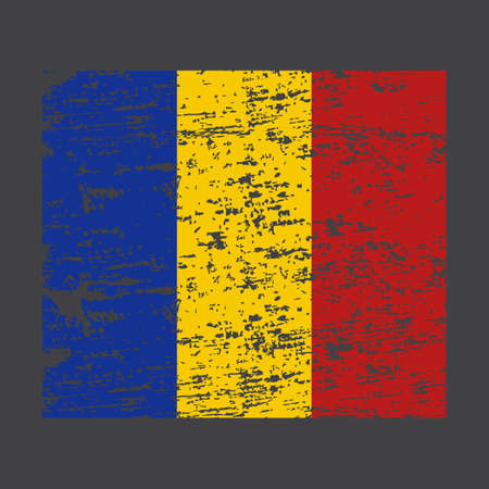 Romania Flag. Ink painted abstract Romania Flag. Hand drawn style illustration with a grunge effect and splashes on white background. Brush painted Romania Flag. Vector