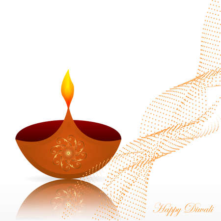 Diwali Festival Design Template with Creative Lamps Illustration