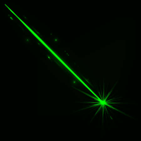 Abstract red laser beam. Isolated on transparent black background. Vector illustration