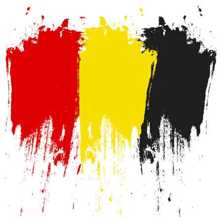 Belgische vlag. Borstel geschilderd Belgische vlag. Hand getrokken stijlillustratie met een grungeeffect en waterverf. De vlag van België met grungetextuur. Vector Vector Illustratie