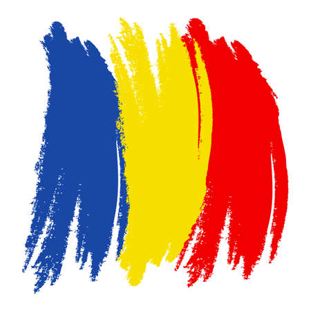 Romania Flag. Ink painted abstract Romania Flag. Hand drawn style illustration with a grunge effect and splashes on white background. Brush painted Romania Flag. Vector illustration.