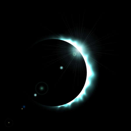 Total eclipse of the sun, eclipse background, vector illustration  イラスト・ベクター素材