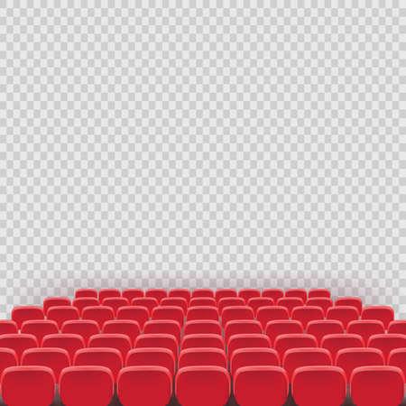 Sedia del sedile rosso del teatro di vettore nella stanza dell'auditorium per conferenze. Illustrazione del sedile rosso del cinema di fila su sfondo bianco trasparente. Sedili per cinema o teatro