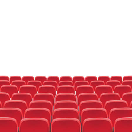 Silla de asiento rojo de teatro de vector en sala de auditorio de conferencias. Ilustración de asiento rojo de cine de fila sobre fondo blanco transparente. Asientos de cine o teatro