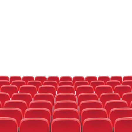 Wektor teatru czerwone krzesło w sali konferencyjnej. Wiersz kino czerwony ilustracja na przezroczystym białym tle. Fotele kinowe lub teatralne