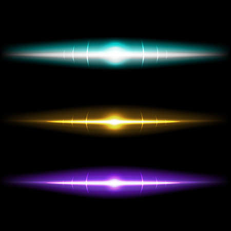 Lens bright effects realistic colored set isolated vector Illustration