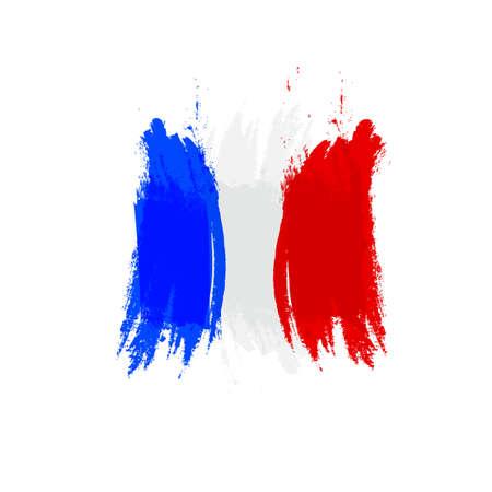 Grunge-Flagge Frankreich, Pinselstrich Hintergrund Grunge-Textur.