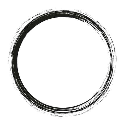 vector brush strokes circles of paint on white background. Ink hand drawn paint brush circle. Logo, label design element vector illustration. Black abstract circle. 免版税图像 - 120995344