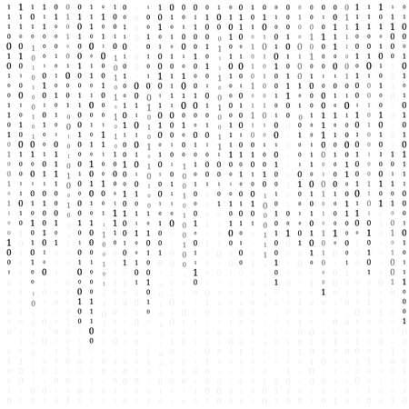 Arrière-plan avec des chiffres à l'écran. code binaire zéro une matrice fond blanc. bannière, motif, papier peint. Vecteurs