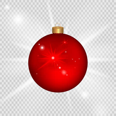 Red Christmas ball. Decorated design, isolated on transparent background. Vector