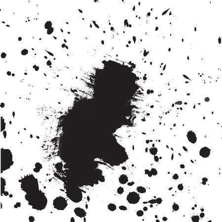 Black drops of paint and stains, ink blots and watercolor. Vector ink texture.