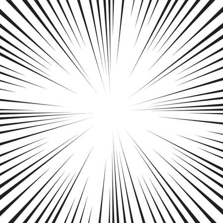 Abstract comic book flash explosion radial lines background. Vector illustration for superhero design. Bright black white light strip burst. Flash ray blast glow.