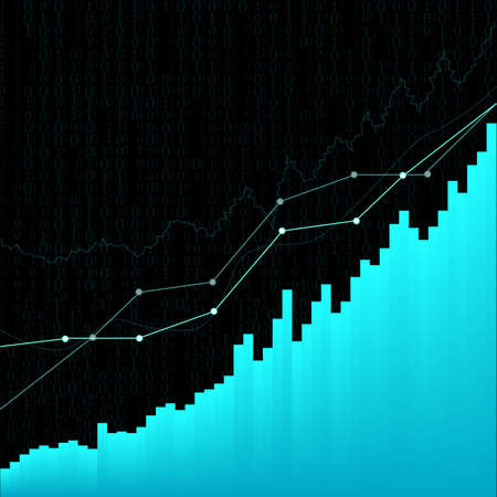 abstract financial chart with uptrend line graph in stock market on grey background vector