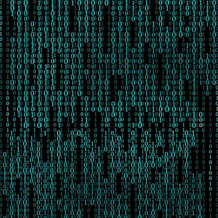 Sfondo astratto della matrice. Codice binario del computer. Codifica. Concetto di hacker. illustrazione vettoriale Vettoriali