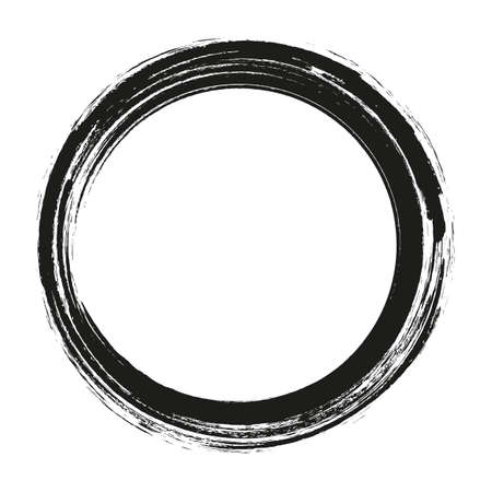 vector penseelstreken cirkels van verf op witte achtergrond. Inkt hand getekende kwast cirkel. Logo, label ontwerp element vectorillustratie. Zwarte abstracte cirkel.