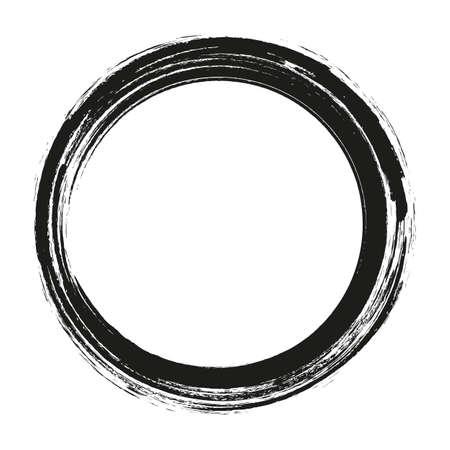 vettore pennellate cerchi di vernice su sfondo bianco. Cerchio del pennello disegnato a mano dell'inchiostro. Logo, illustrazione di vettore dell'elemento di progettazione dell'etichetta. Cerchio astratto nero.