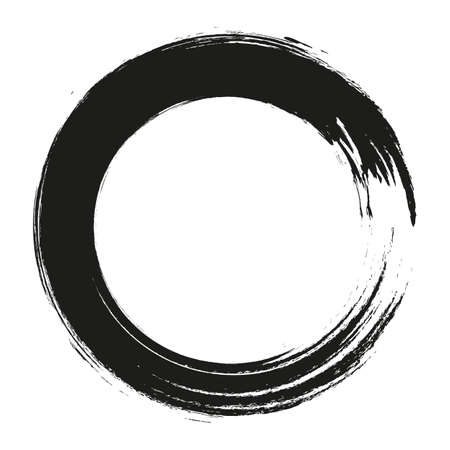 círculos de trazos de pincel de vector de pintura sobre fondo blanco. Círculo de pincel dibujado a mano de tinta. Logotipo, ilustración de vector de elemento de diseño de etiqueta. Círculo abstracto negro. Logos