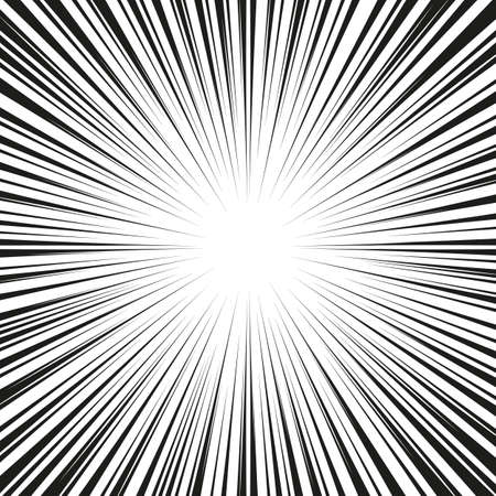 Graphic Explosion with Speed Lines. Comic Book Design Element. Retro comic style background with sun rays. Vector