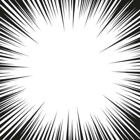 Esplosione grafica con linee di velocità. Elemento di disegno di fumetti. Sfondo stile fumetto retrò con i raggi del sole. Vettore