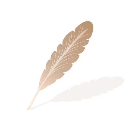 A vector illustration of an old quill and ink. Feather Quill and ink. A retro image of a writing with quill icon. Foto de archivo - 131563104