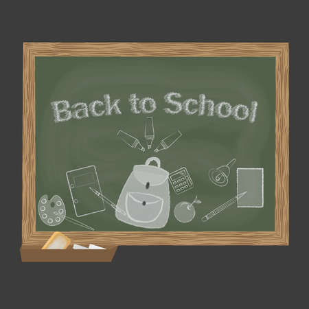 School supplies on chalkboard background. Back to school.  イラスト・ベクター素材