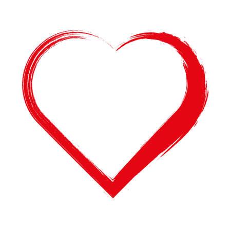 Cornice a forma di cuore con pittura a pennello isolata su priorità bassa bianca. Francobolli grunge. Segni di San Valentino. Illustrazione vettoriale. Vettoriali