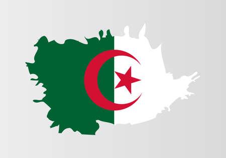 Brush painted Algeria flag Hand drawn style illustration