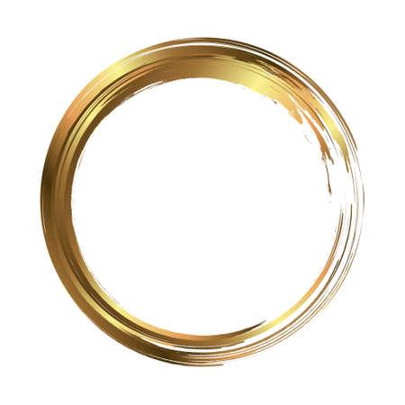 Rama koło pomalowana pociągnięciami pędzla. Element projektu streszczenie wektor. Koncepcja złota. Ilustracje wektorowe