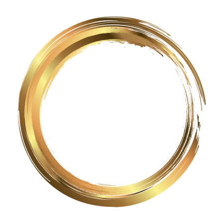 Circle frame painted with brush strokes. Abstract vector design element. Gold concept. Vektoros illusztráció