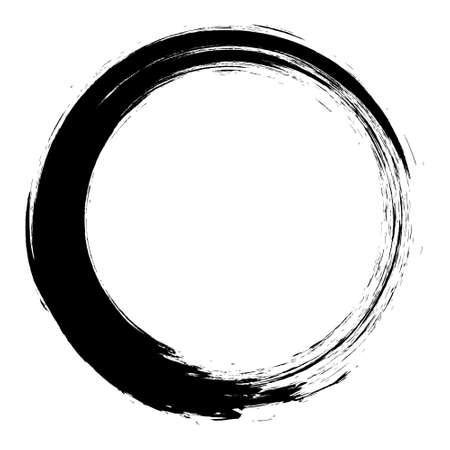 Círculos de trazos de pincel de vector de pintura sobre fondo blanco. Círculo de pincel dibujado a mano de tinta.