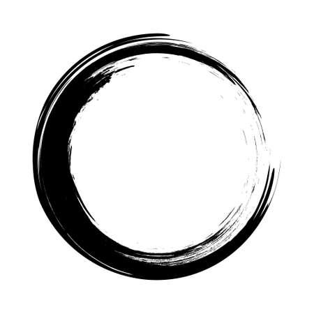 vecteur de coups de pinceau cercles de peinture sur fond blanc. Cercle de pinceau à l'encre dessiné à la main.