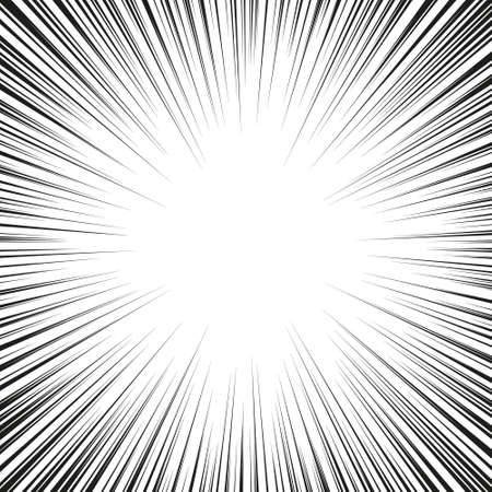 Monochrome graphic explosion with speed lines on a circle. Comic book design element Ilustração