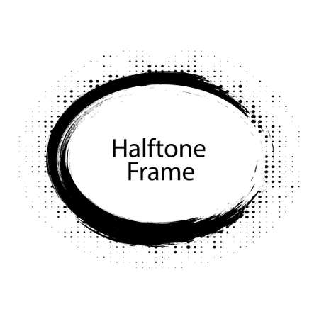 Halftone circle dotted frame circularly distributed. Abstract dots emblem design element. Round border Icon using random halftone circle dot raster texture.