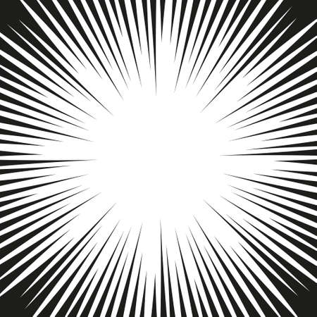 Vector comic book speed lines background. Starburst explosion in monochrome manga or pop art style.