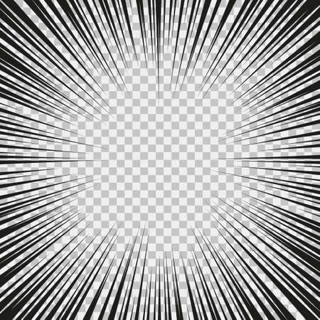 Monochrome graphic explosion with speed lines on a circle. Comic book design element