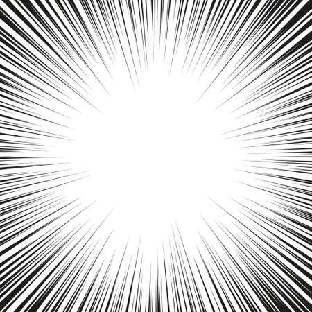 Monochrome graphic explosion with speed lines on a circle. Comic book design element Imagens