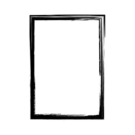 Vector brush strokes square of paint on white background.  label design element vector illustration. Black abstract grunge square. Frame