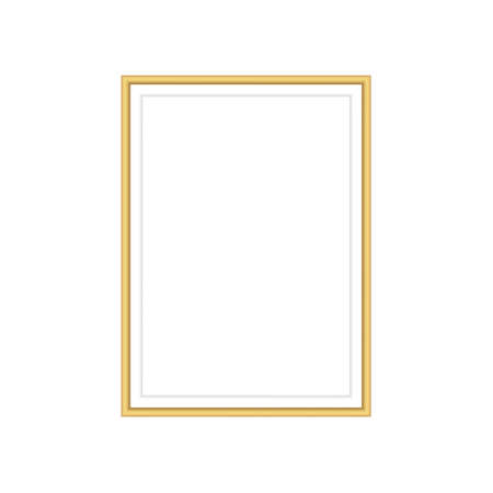 Realistic gold frame on white background. Vector business template. Christmas gold texture background. Luxury shiny gold texture. Vector design element.