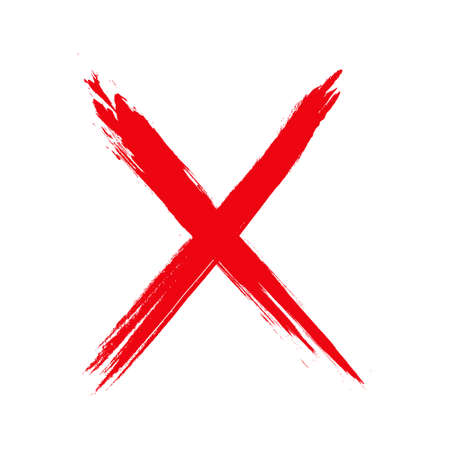 sign no,  style illustration with a grunge effect sign no isolated on white background. Paint stain. X Red cross handwritten. Grunge letter X. Иллюстрация