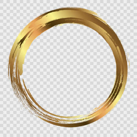 Circle frame painted with brush strokes. Abstract vector design element. Gold concept.