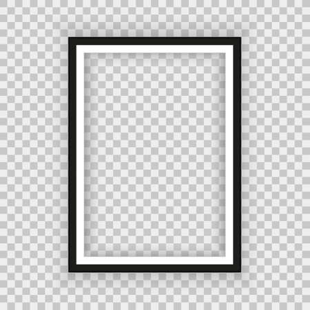Realistic black frame isolated on background. Perfect for your presentations. Vector illustration.