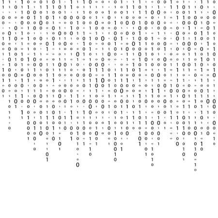 Matrix Background Vector. Binary Code Matrix. Black And White Digital Background With Digits On Screen. Data Technology Illustration Иллюстрация