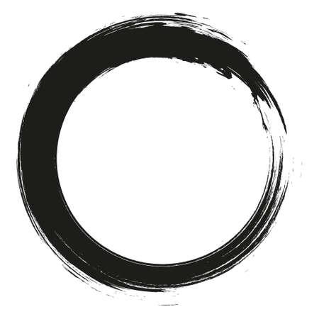 Grunge hand drawn black paintbrush circle. Curved brush stroke vector illustration Vektorgrafik