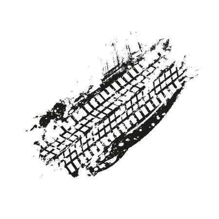 Grunge black tire track on white background. Black ink blots splash with white tire track silhouette, vector